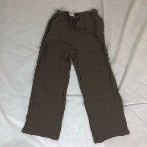 Eileen Fisher Brown Wide Leg Drawstring Pants